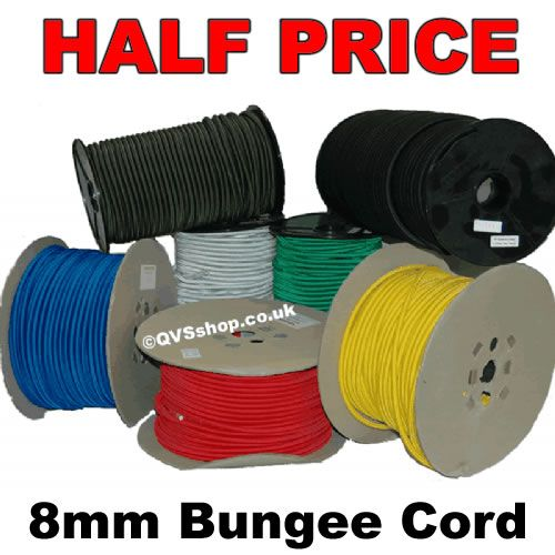 8mm Bungee Elastic Shock Cord Rope Various Colours